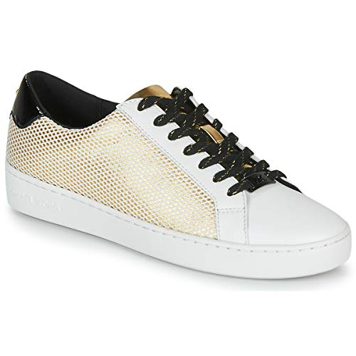 MICHAEL Michael Kors Irving Lace Up Sneakers Dames Wit/Zwart/Goud - 39 - Lage Sneakers Shoes