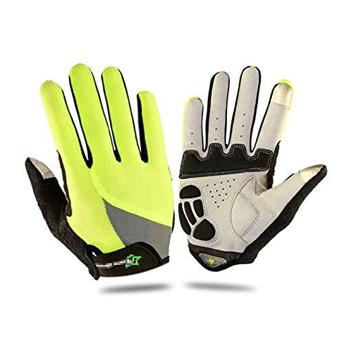 Heqianqian - Guantes de ciclismo unisex transpirables, guantes térmicos, para pantalla táctil, guantes deportivos al aire libre (tamaño: L; color: verde)