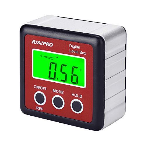 RISEPRO Digitaler LCD Winkelmesser Neigungsmesser Inklinometer Wasserdicht Bevel Box Winkelmessgerät Wasserwaage