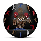 xinxin Reloj de Pared Typo Box Warrior Fighter Moderno Boxeo Arte de Pared Deportes Decoración para el hogar Reloj silencioso Boxer Idea de Regalo