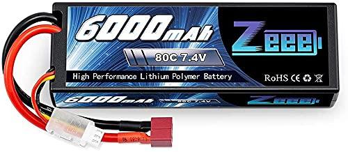 Zeee 2S Lipo Batería 7.4V 6000mAh 80C Estuche rígido Batería con Deans T Plug para 1/8 y 1/10 Vehículos RC Coche RC Buggy Truggy RC Avión UAV Drone FPV