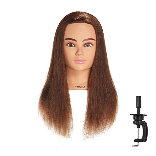 "Hairingrid Mannequin Head 20""-22"" 100% Human Hair Hairdresser Cosmetology Mannequin Manikin Training Head Hair and Free Clamp Holder (1906LB0414)"