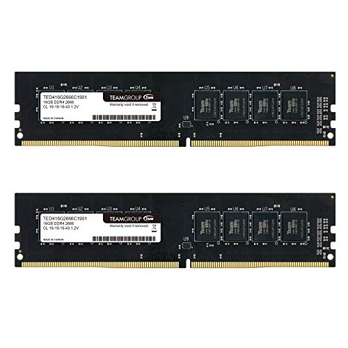 TEAMGROUP Elite DDR4 64GB Kit (2 x 32GB) 2666MHz (PC4-21300) CL19 Unbuffered Non-ECC 1.2V UDIMM 288 Pin PC Computer Desktop Memory Module Ram Upgrade - TED464G2666C19DC01