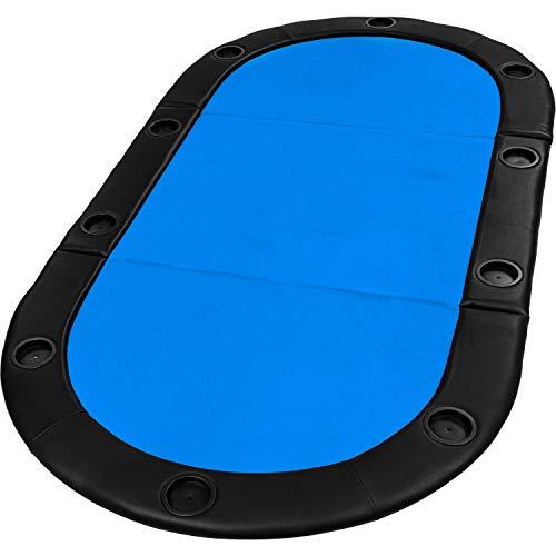 """Maxstore Faltbare Pokerauflage """"Straight Flush"""" mit Tasche, 208x106x3 cm, MDF Platte, gepolsterte Armauflage, 10 Getränkehalter, blau"""