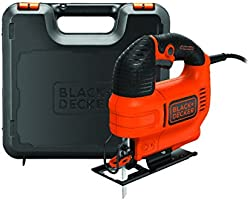 Black+Decker 520W Variable Speed Compact Jigsaw with Blade in Kit Box for Wood Cutting, Orange/Black - KS701EK-GB, 2...