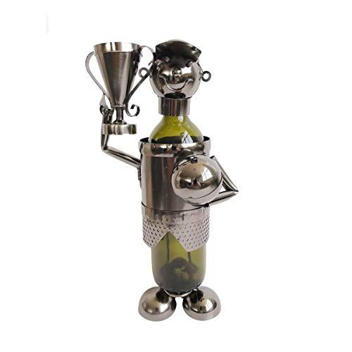 Objektkult Flaschenhalter/Weinflaschenhalter Champion aus Metall, Maße (H x B x T): 35 x 18 x 12 cm, ausgestattet mit Pokal und Ball für eine Flasche, Siegertypen, Fußballer