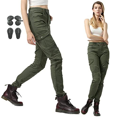 SHUOJIA Mujer Pantalones De Motociclismo Para Pantalones De Carreras De Motocross Con Pantalones Anti Caída,Jeans De Moto, 4 X Equipo De Protección (Green,XXS)