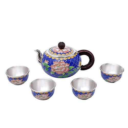 SHENLIJUAN 5pcs Set Hecho a Mano Peony Tea Silver Silver 999 Silver Tea Set Silver Pot Aguja Copa