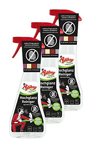 Poliboy - Hochglanz Möbel Reiniger - speziell für Hochglanzflächen - entfernt Fingerspuren schnell und streifenfrei - 3er Pack - 3x375 ml (1,125 Liter) - Made in Germany