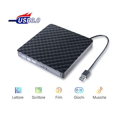 Masterizzatore Dvd Esterno Lettore Portatile USB 3,0/2,0 di CD-R, DVD±RW, CD±RW, CD-RW, DVD-R, Dvd Rom per PC, Laptop, MacBook con Sistema di MacOS, Windows, Linux Non Blu-Ray