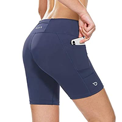 BALEAF Women's 7 Inches Workout Running Shorts Yoga Comprssion Shorts Side Pockets Navy Blue Size L