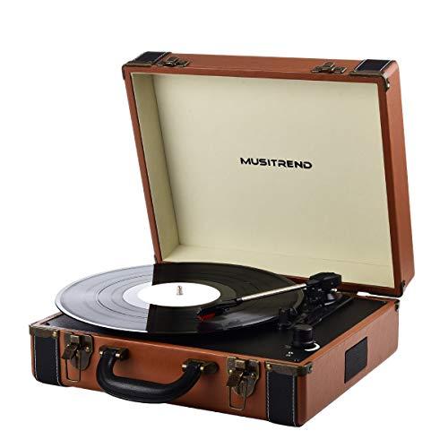 MUSITREND Platine Vinyle Bluetooth, Tourne Disque Retro Portable 33/45/78 TR/Min, Haut-parleurs stéréo intégrés Aux-in RCA