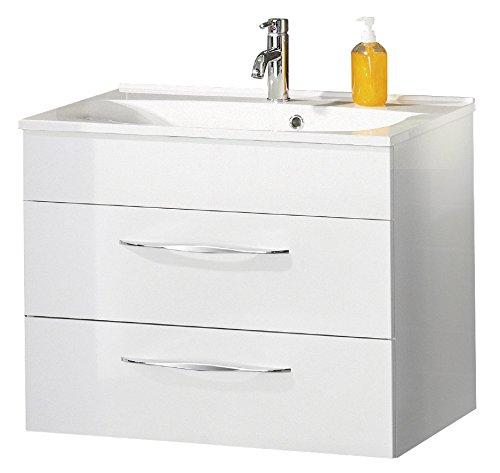 FACKELMANN Waschtischunterschrank SCENO/Badschrank mit Soft-Close-System/Maße (B x H x T): ca. 80 x 65,5 x 50 cm/hochwertiger Schrank fürs Bad mit 2 Schubladen/Korpus: Weiß/Front: Weiß