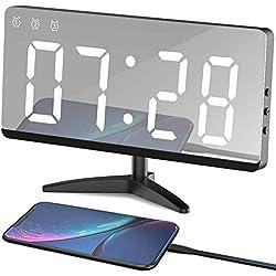 EVILTO Table Alarm Clock, 6.8 Mirror Surface Decorative Digital Modern Alarm Clock with Temperature, 12/24H Mode, Snooze, Dimmer,Adjustable Alarm Volume for Room Decor(White)