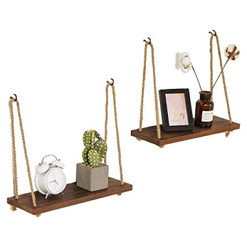 zyl Rustic aged wood hanging shelves: 42cm, twine bracket suitable for living room, kitchen, workshop outdoor bracket, DIY home appliances (2pcs)