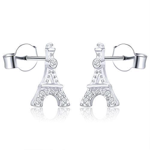 AoedeJ Pendientes hipoalergénicos de la Torre Eiffel de París, pendientes pequeños de plata de ley 925, regalo para mujer (Estilo 2)