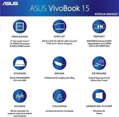 Asus VivoBook 15 Core i3 7th Gen - (4 GB/1 TB HDD/Windows 10 Home) X543UA-DM342T Laptop (15.6 inch, Star Grey, 1.90 kg)