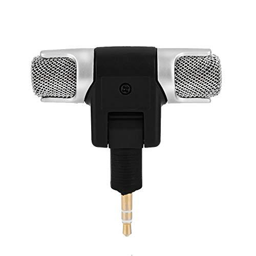 Zerone Mini micrófono estéreo, micrófono estéreo Externo, micrófono de 3,5 mm Chapado en Oro, Conector Jack para PC portátil MD cámara