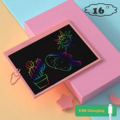 JAKTP Tableta De Escritura LCD Colorida De 16 Pulgadas, Tablero De Dibujo ElectróNico con Carga USB, Tableta GráFica con Bloqueo De Memoria (Rosa)