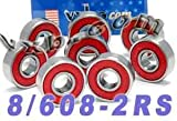VXB Brand Skateboard Bearing Set of 8 Sealed 608RS Ball Bearings Carbon Steel with Red Rubber Seals 608-2RS