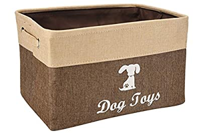 Linen Storage Basket Bin Chest Organizer - Perfect for Organizing Dog Toys Storage, Dog Shirts, Dog Coats, Dog Toys, Dog Clothing, Dog Dresses, Gift Baskets -Brown