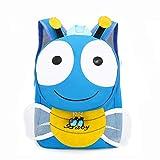FeMereina Mochila Unisex para Niños Pequeños Mochila 3D Cartoon Bee Animal con Alas Batientes, Mochila para Guardería, Preescolar, Jardín de Infantes (Azul, Un tamaño)