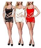 Yulaixuan 3 Pares de lencería de Rejilla para Mujer Mesh Badydoll Ahuecado con Estampado Mini Vestido Ver a través de la Ropa de Dormir de Malla Chemise (1 Negro / 1 Blanco / 1 Rojo, sin Mangas)