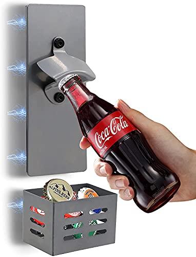 シンプルな壁掛けビール、ソフトマグネット冷蔵庫マグネット栓抜き、クラフトバスケットキャップボトルオープナー、マグネット式冷蔵庫栓抜き (灰色的)