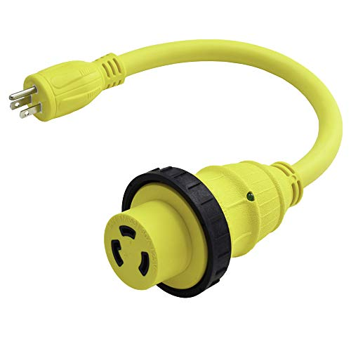 Marvine Cable Shore Power Cord Adapter 15Amp Male 5-15P to 30Amp Lock Female L5-30R Pigtail 1.5Ft