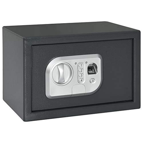 vidaXL Caja Fuerte Digital con Lector de Huella Depósito Baúl Arcón Seguridad Protección Llaves Emergencia Acero Gris Oscuro 31x20x20 cm