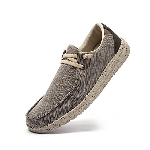 PAMRAY Zapatos de Cordones Hombre Casuales Sneakers Classic Mocasines Running Zapatillas Deportivas Corriendo Transpirable Marrón 42
