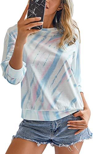 Damen Rundhals lässige Langarmshirt Pullover mit Farbstoff binden Bunte T-Shirt PulliBluse Oberteile DHD016-PBXXL