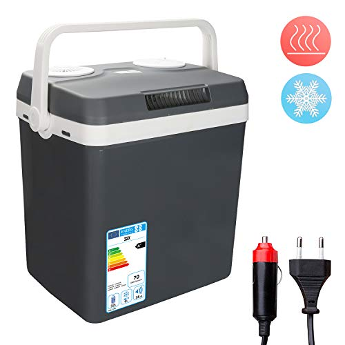 Hengda Glacière électrique Portable 32 litres, Chaud/Froid, 12V/230V, pour la Maison, la Voiture, la Camping, Classe énergétique A++