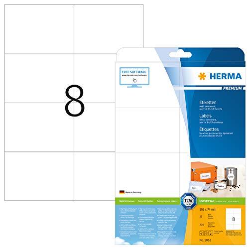 HERMA 5062 Universal Etiketten DIN A4 groß (105 x 74 mm, 25 Blatt, Papier, matt) selbstklebend, bedruckbar, permanent haftende Adressaufkleber, 200 Klebeetiketten, weiß