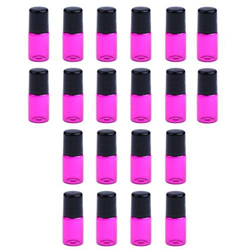 dailymall 20 Pièces Mini Rechargeable Vide Verre Rouleau Sur Bouteilles Conteneurs - Rose rouge, 3ML