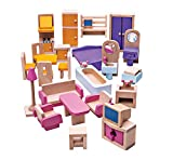 Bigjigs Toys Boîte de Jeu Patrimoine Lot de Meubles pour Maison de Poupée | Jouet Traditionnel | Jeu Éducatif | Cadeau Enfant | Jouet Bébé | Jouet Enfant