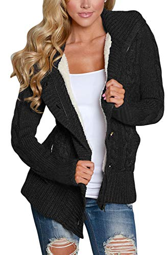 Dokotoo Damen Strickjacke Knopf Hoodie Kleidung Einfarbig Pullover Frauen Tops Lange Ärmel Trenchcoat Outwear Cardigan Kapuzenpullover Knoten...