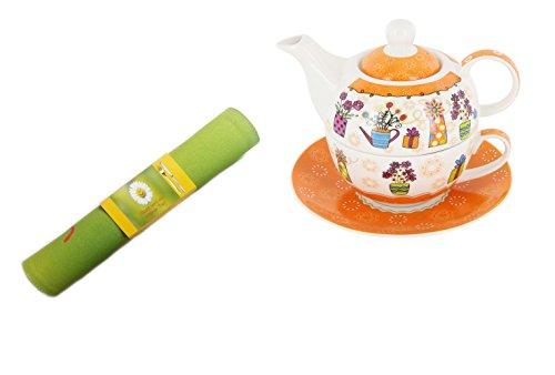 Trendstern Trendprodukteshop - Set teiera con teiera e piattino, motivo floreale