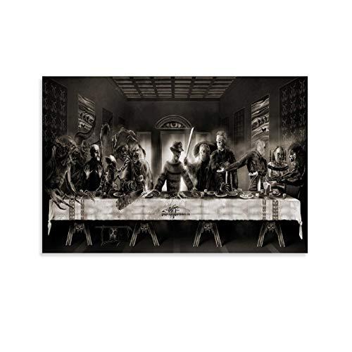 TRFTRF Das Letzte Abendmahl, Dark and Evil Horror, Weird and Creepy Leinwand Kunst Poster und Wandkunst Bilddruck Moderne Familienzimmer Dekor Poster 12x18inch(30x45cm)