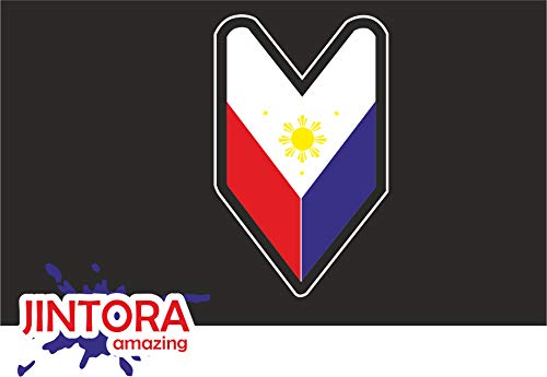 JINTORA - JDM wakaba Leaf Philippine Flag Filipino Vinyl s Bumper Stickers Drifting Drift - Pegatina Vinilo Impreso para Coche, Carpeta, Moto, Bici, Pared, Puerta, Nevera etc. - 3X 48x30mm