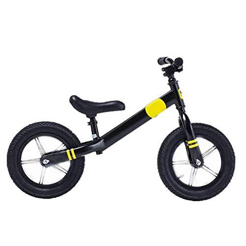 ZXL Balance Bike per 2-6 Anni, Bicicletta da Allenamento per Bambini e Ragazzi Leggera Bici da 12 '' Senza Pedali, Bicicletta da Allenamento con Manubrio e Sedile Regolabili,Giallo