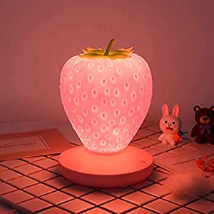 Colorsa Children's Night Light, Cute Silicone Strawberry Light Children's Bedside Color Changing Lamp, USB Rechargeable, 3 Modes Touch Switch Gift for Birthday, Christmas