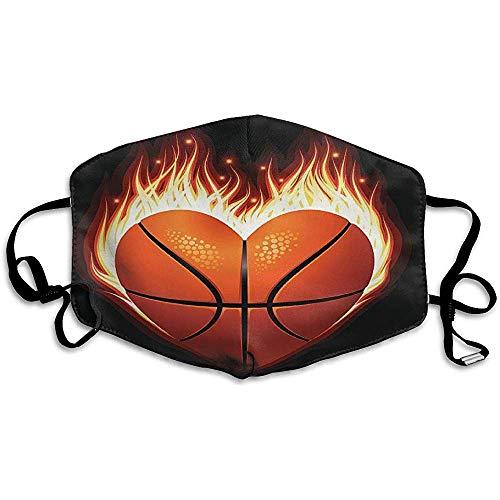 Mundschutz Herz Basketball Feuermuster Anti Staub Park Schöne Wiederverwendbare Mundmaske Unisex Schule Waschbar Modedesign Bunter Druck Erwachsener Gemütlich 11X18Cm Outdoor Bequ