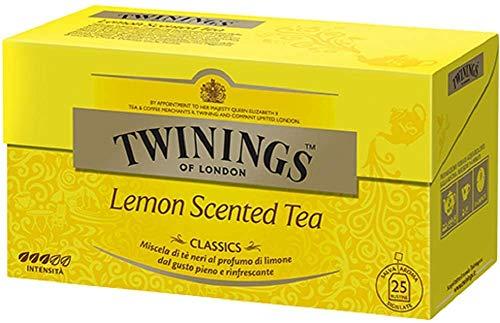 Twinings Tè Classici - Lemon Scented - Tè Neri al Profumo di Limone Rinfrescante - Tè nero al Limone dal Colore Intenso in Tazza, dal Profumo Inebriante e dal Sapore Fresco e Fruttato (25 Bustine)