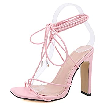 Shoe N Tale Women s Strappy Straps Square Open Toe Chunky High Heels Lace Up Gladiator Sandals Tie Up High Heel Sandals  8,A-a Pink