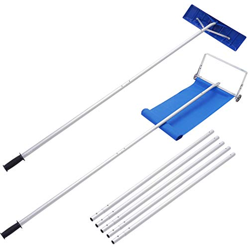 JOSTYLE Roof Snow Rake Removal Tool with 2 Cutting Blade Reach to 24Feet, Upgraded Dual Conversion Head Snow Rake for House Roof with Wheels and Effortless Snow Slide