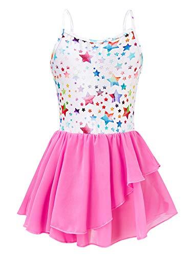 uideazone Camisole Gymnastics Dance Leotards Skirt for Girls Sparkly Pink Stars Ballet One-Piece Tutu Dress Ballet Dancing Wear 4-5T