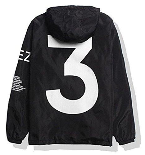 Showlovein Men Waterproof Letter Print Jacket Hip-Pop Long Sleeve Hooded Anti-Sun Hoodie Streetwear(Black White, XS-XL) (XL, Black) Kentucky