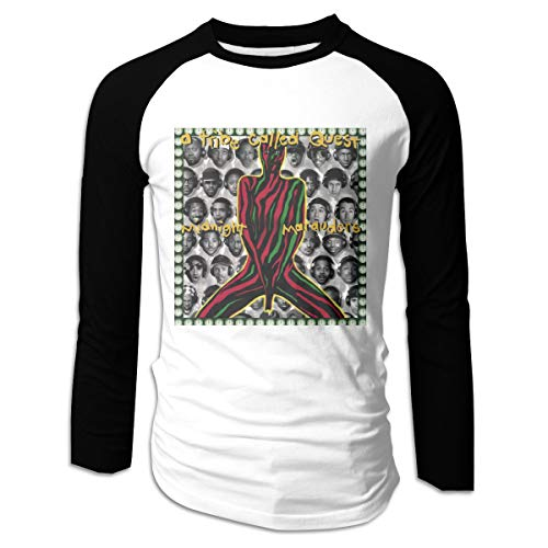 Donmlier Mens Ultra Soft A Tribe Called Quest Midnight Marauders Logo Gift Long Sleeve Raglan Baseball T-Shirt M Black
