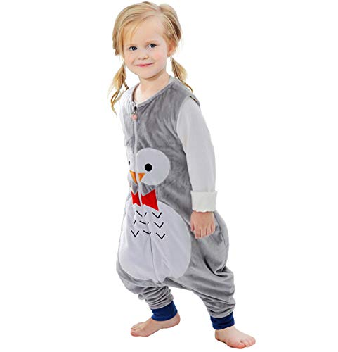 ZEEUPAI - Saco de Dormir con piernas de Franela para bebés niños infantíl Ropa Pijama niñas (M (3-5 años), Gris-Búho)